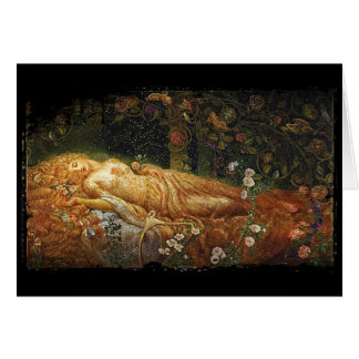 Sleeping Beauty Beside a Harp Card