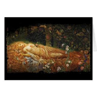 Sleeping Beauty Beside a Harp Card