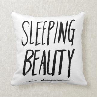 Sleeping Beauty   Black Brush Script Style Throw Pillow