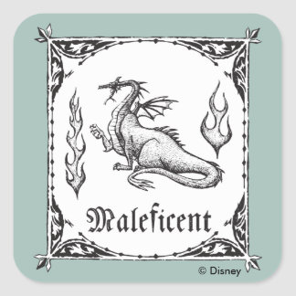 Sleeping Beauty   Maleficent Dragon - Gothic Square Sticker