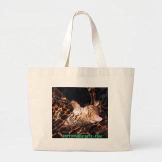 sleeping bengal kitten large tote bag