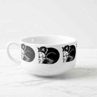 Sleeping Black and White Huskies Soup Mug