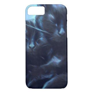 Sleeping black cats, blue / black iPhone 8/7 case