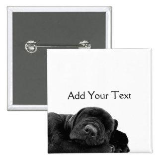 Sleeping Black Puppy Pinback Button