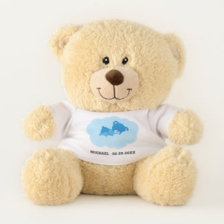 Sleeping Blue Teddy Bear with Name and Date