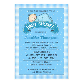 Sleeping Boy Baby Shower Invitation