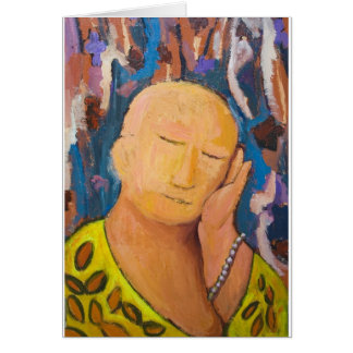 Sleeping Buddha (naive expressionism portrait) Card