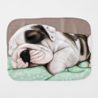 Sleeping Bulldog Puppy Baby Burp Cloth
