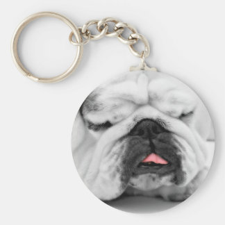 Sleeping Bulldog Puppy Dog Lovers Photo Design Basic Round Button Key Ring
