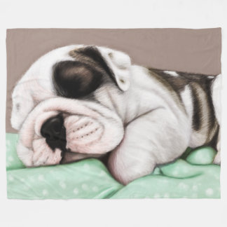 Sleeping Bulldog Puppy Fleece Blanket