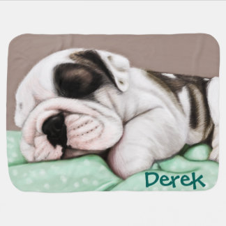 Sleeping Bulldog Puppy Pram blankets