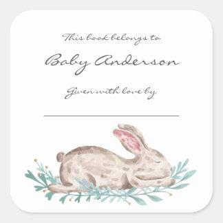 Sleeping bunny rabbit bookplate, book sticker