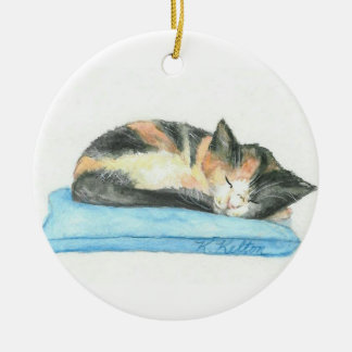 Sleeping Calico Kitten Christmas Ornament
