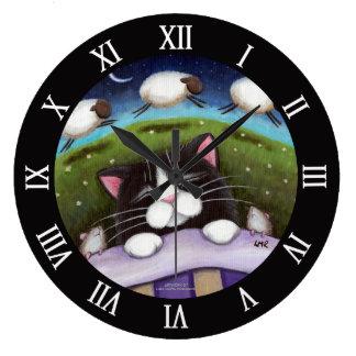 Sleeping Cat and Mice Dreaming of Sheep Wall Clocks