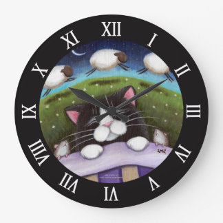 Sleeping Cat and Mice Dreaming of Sheep Large Clock