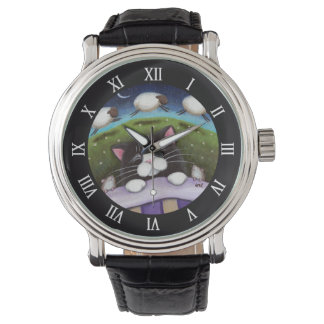 Sleeping Cat and Mice Dreaming of Sheep Wristwatch