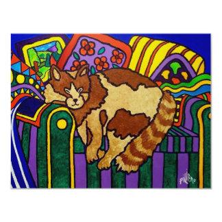 Sleeping Cat by Piliero 11 Cm X 14 Cm Invitation Card