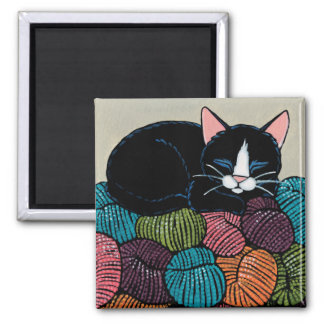 Sleeping Cat on Mountain of Yarn Illustration Square Magnet