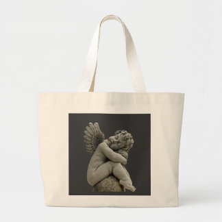 Sleeping Cherub Angel Sculpture Tote Back. Jumbo Tote Bag