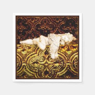 Sleeping cherub on golden glass disposable serviette