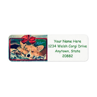 Sleeping Christmas Corgi Return Address Label