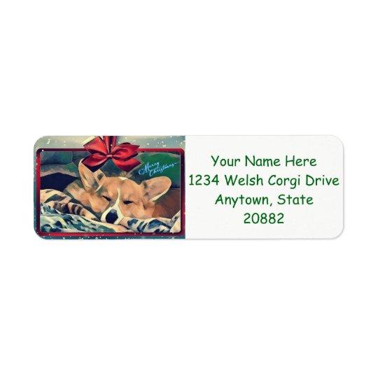 Sleeping Christmas Corgi Return Address Label