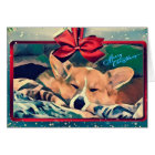 Sleeping Corgi Christmas Card