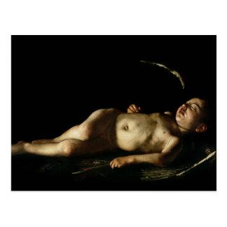 Sleeping Cupid, 1608 Postcard