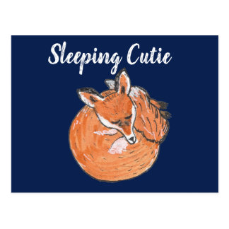 """Sleeping Cutie"" - Fox Illustration Postcard"