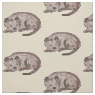 Sleeping Dog Illustration Fabric