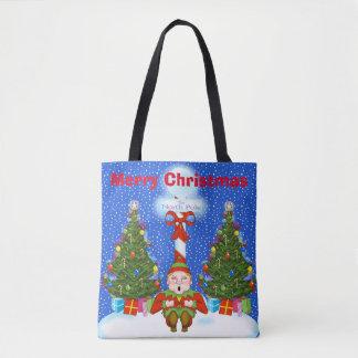 Sleeping Elf Christmas Tote Bag