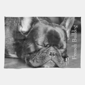 Sleeping French Bulldog Tea Towel