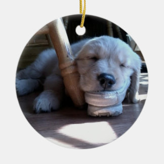Sleeping Golden Retriever Puppy--Merry Christmas Ceramic Ornament