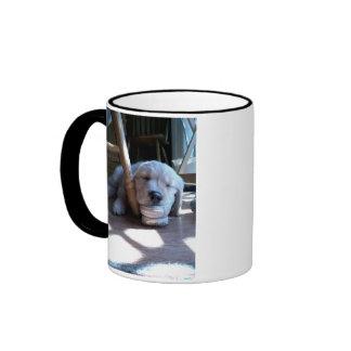 Sleeping Golden Retriever Puppy Ringer Coffee Mug
