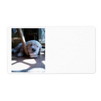 Sleeping Golden Retriever Puppy Shipping Label