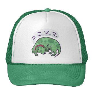 Sleeping Green Puppy Trucker Hats