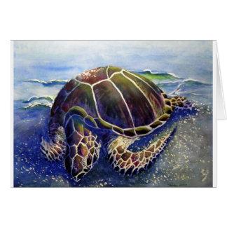 Sleeping green sea turtle card