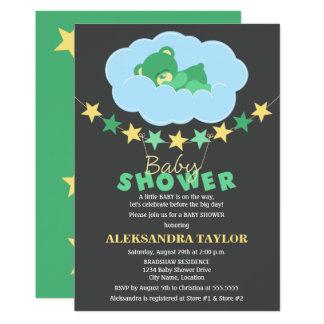 Sleeping Green Teddy Bear in Cloud Baby Shower 13 Cm X 18 Cm Invitation Card
