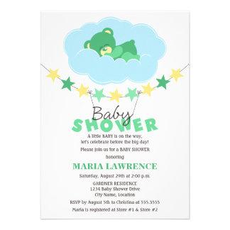 Sleeping Green Teddy Bear in Cloud Baby Shower Custom Invite