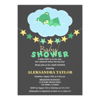 Sleeping Green Teddy Bear in Cloud Baby Shower Custom Invites