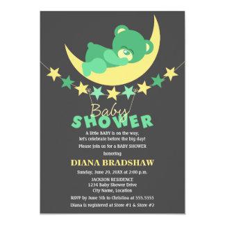 Sleeping Green Teddy Bear On Moon Baby Shower 13 Cm X 18 Cm Invitation Card