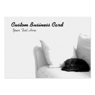 Sleeping Grey Cat on White Sofa Business Card