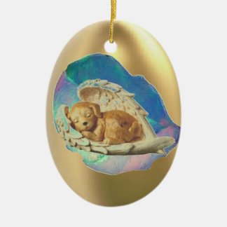 Sleeping Hatchling Winged Puppy Ceramic Ornament