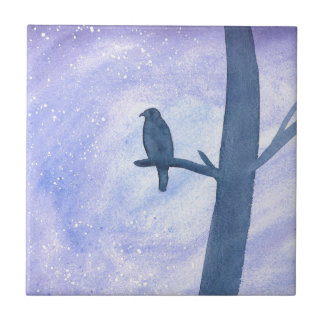 Sleeping Hawk Ceramic Tile