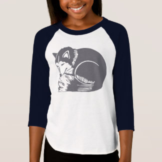 Sleeping Husky Dog Girls' Raglan T-Shirt