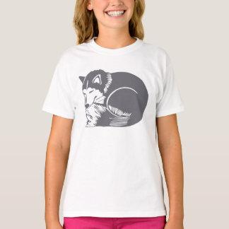 Sleeping Husky Girls' Hanes Tagless T-Shirt