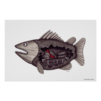 Sleeping in the fish surreal black and white art poster