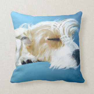 Sleeping Jack Russell Terrier Dog Art Pillow