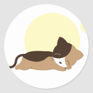 Sleeping Kitten Classic Round Sticker