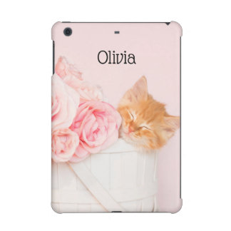 Sleeping Kitten Pink Roses iPad Mini Cover